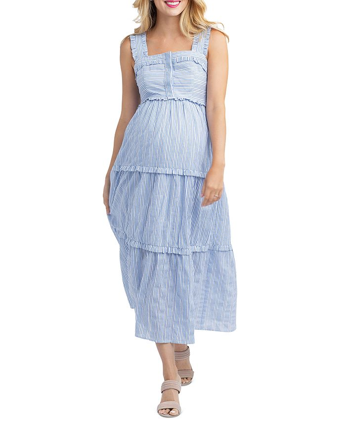 Nom Maternity - Emma Tiered Striped During & After Dress