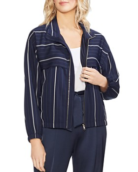 VINCE CAMUTO - Striped Bomber Jacket