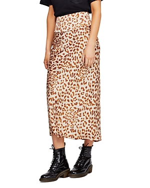 Free People Skirts NORMANI LEOPARD-PRINT MIDI SKIRT