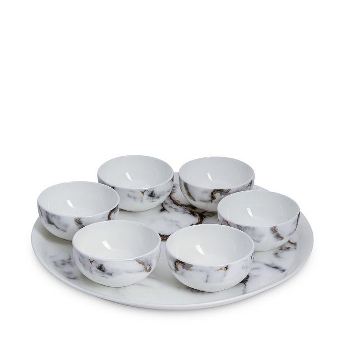 Prouna - Marble Venice Fog 7-Piece Seder Plate/Appetizer Set