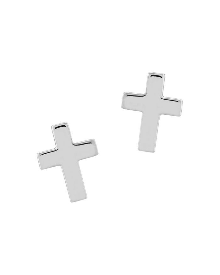 Bloomingdale's Medium Cross Stud Earrings in 14K White Gold - 100% Exclusive    Bloomingdale's