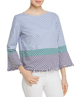 Marella - Antibes Fringed Check-Print Blouse