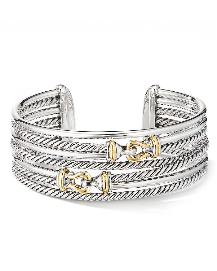David Yurman STERLING SILVER BUCKLE CROSSOVER CUFF WITH 18K YELLOW GOLD