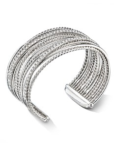 David Yurman - Sterling Silver Crossover Cuff Bracelet with Diamonds