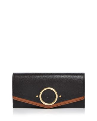 Aura Long Leather Flap Wallet by See By Chloé