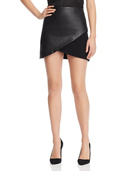 Alice and Olivia - Fidela Leather-Panel Crossover Mini Skirt