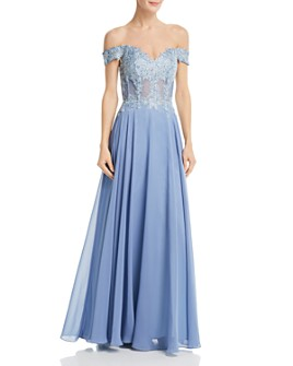 Avery G - Embellished Off-the-Shoulder Gown