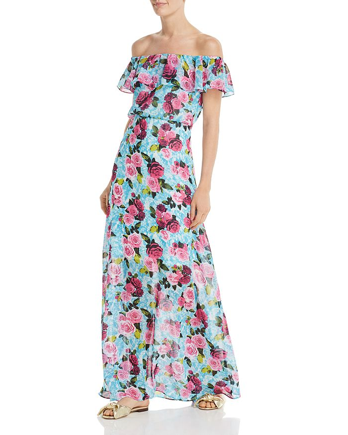 Betsey Johnson - Drowning Roses Off-the-Shoulder Maxi Dress