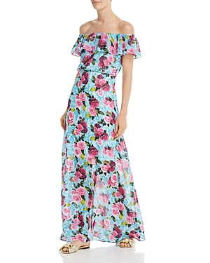 Betsey Johnson Dresses DROWNING ROSES OFF-THE-SHOULDER MAXI DRESS