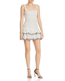 WAYF - Herbie Smocked Embroidered Mini Dress