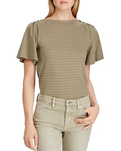 Ralph Lauren - Striped Flutter-Sleeve Tee