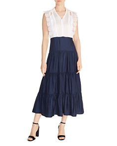 Sandro - Tiered Lace-Inset Maxi Dress