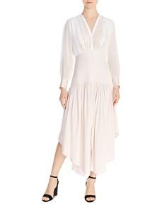 Sandro - Olive Shirred Asymmetric-Hem Dress