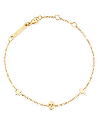 14 K Yellow Gold Itty Bitty Star, Bolt & Skull Station Bracelet by Zoë Chicco