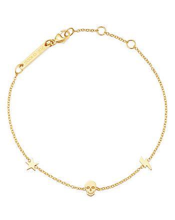 Zoë Chicco - 14K Yellow Gold Itty Bitty Star, Bolt & Skull Station Bracelet