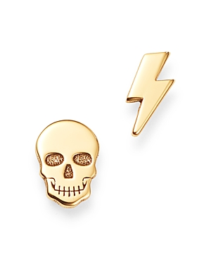 Zoe Chicco 14K Yellow Gold Itty Bitty Skull & Lightning Bolt Stud Earrings-Jewelry & Accessories