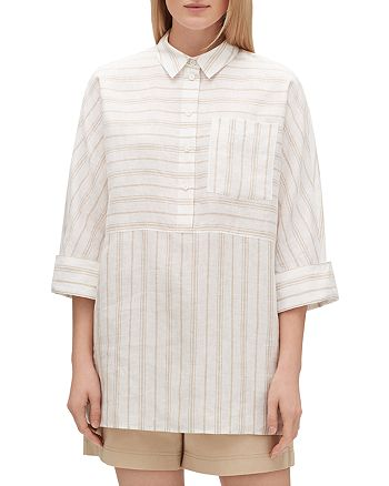 Lafayette 148 New York - Malaysia Striped Linen Top