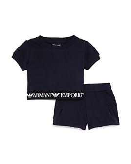 Armani - Girls' Logo-Band Fleece Top & Shorts Set - Little Kid, Big Kid