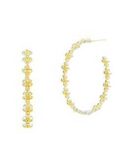 Freida Rothman - Fleur Bloom Clover Hoop Earrings in 14K Gold-Plated & Rhodium-Plated Sterling Silver