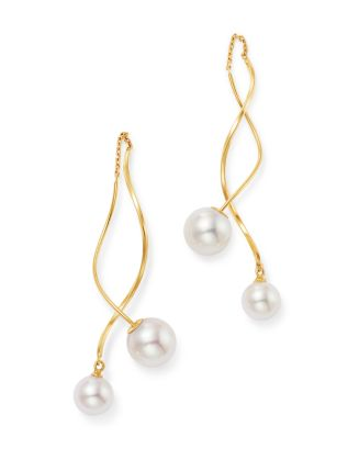 18 K Yellow Gold Pearl Essentials Akoya Duo Dancing Drop Earrings by Madhuri Parson