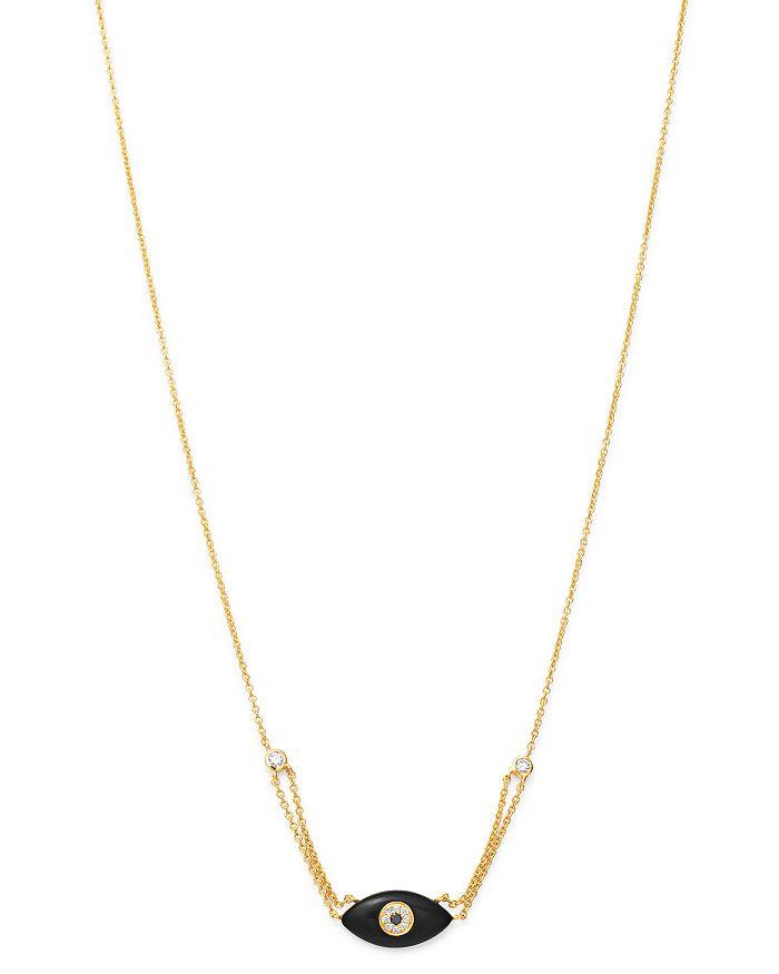 "Madhuri Parson - 14K Yellow Gold Diamond Essentials Black Onyx & Diamond Evil Eye Necklace, 17"""