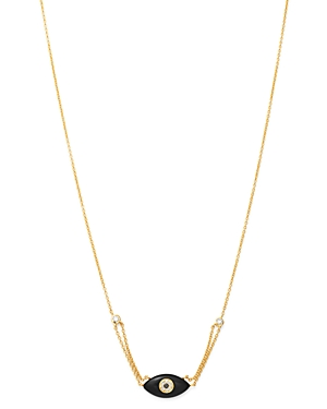 Madhuri Parson 14K Yellow Gold Diamond Essentials Black Onyx & Diamond Evil Eye Necklace, 17