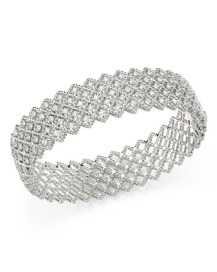 Roberto Coin - 18K White Gold Roman Barocco Diamond Bangle Bracelet