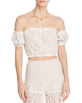 AQUA - Off-the-Shoulder Lace Cropped Top - 100% Exclusive