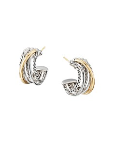 David Yurman - Sterling Silver & 18K Yellow Gold Crossover Huggie Hoop Earrings