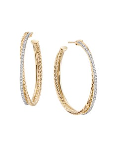 David Yurman - Crossover Extra Large Hoop Earrings in 18K Yellow Gold with Diamonds