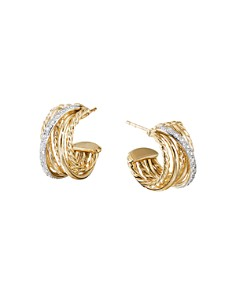 David Yurman - Crossover Huggie Hoop Earrings in 18K Yellow Gold with Diamonds