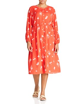 B Collection by Bobeau Curvy - Diane Floral-Print Button-Front Dress