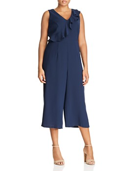 Adrianna Papell Plus - Sleeveless Ruffle-Trim Cropped Jumpsuit