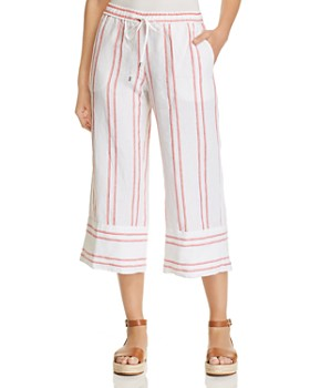 Tommy Bahama - Marcella Embroidered-Stripe Cropped Linen Pants
