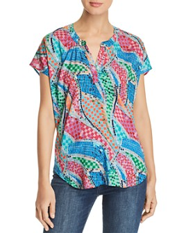 Tolani - Short-Sleeve Mosaic-Print Top