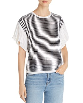 Le Gali - Anne Striped Pleated-Sleeve Sweater - 100% Exclusive