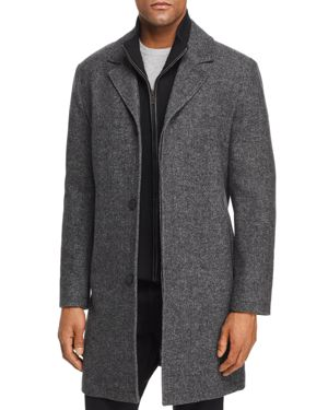 Cole Haan Sweater Bib Wool Blend Twill Coat