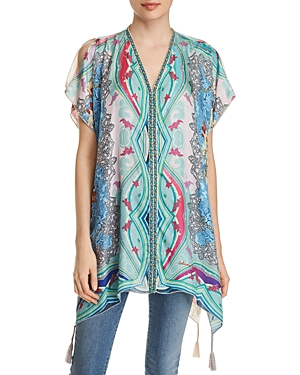 Johnny Was Leon Mixed-Print Silk Tunic