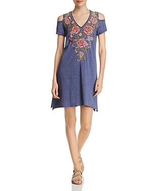 Johnny Was Cottons CECILE EMBROIDERED COLD-SHOULDER T-SHIRT DRESS