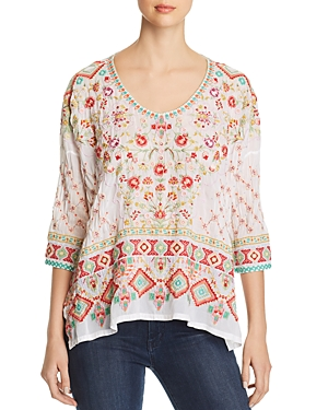 Johnny Was Sandra Embroidered Top