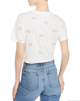 Honey Punch - Rainbow Embroidered Cropped Tee
