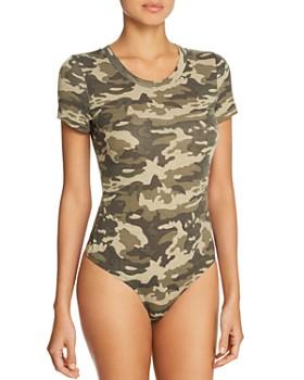 AQUA - Short-Sleeve Camouflage-Print Bodysuit - 100% Exclusive