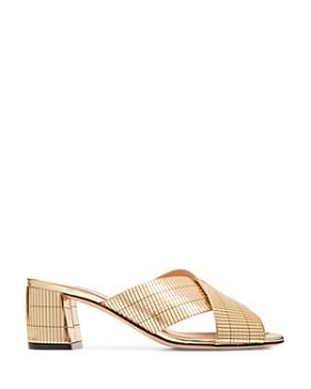 Bally - Women's Evoria Mirrored Leather Block Heel Sandals