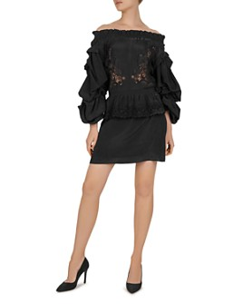 The Kooples - Patch And CDC Off-The-Shoulder Mini Dress