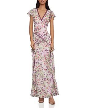 c1619728c408 BCBGMAXAZRIA - Floral Iris Ruffled Chiffon Gown ...