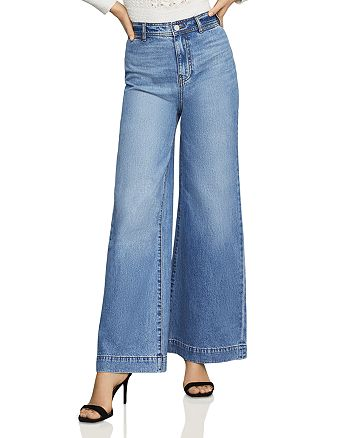 BCBGMAXAZRIA - High-Rise Wide-Leg Jeans in Medium Wash
