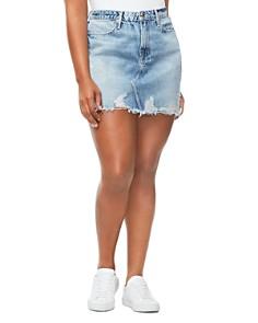 Good American - Frayed Denim Mini Skirt in Blue239