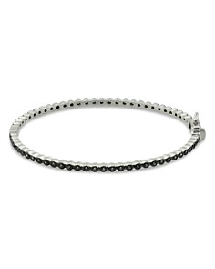 Freida Rothman - Signature Bezel Pavé Hinge Bangle Bracelet in Rhodium-Plated Sterling Silver