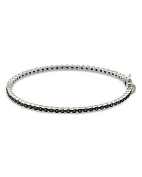 Freida Rothman - Signature Bezel Pavé Hinge Bangle Bracelet in Rhodium-Plated Sterling Silver