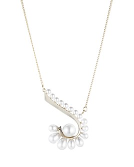 Carolee - Simulated Pearl Swirl Pendant Necklace, 16""